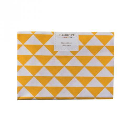 Coupon 40x60 cm coton jaune safran vintage