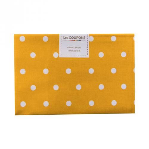 Coupon 40x60 cm coton jaune safran gros pois