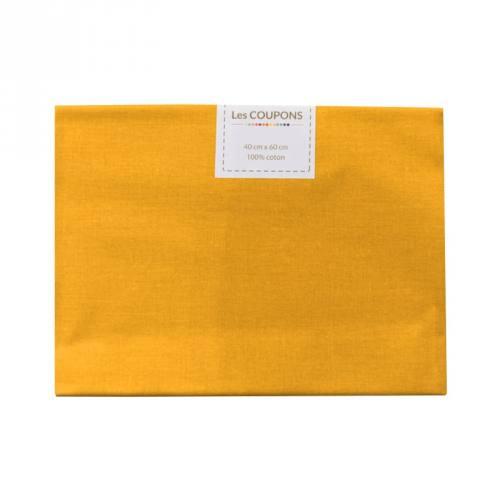 Coupon 40x60 cm coton uni jaune safran