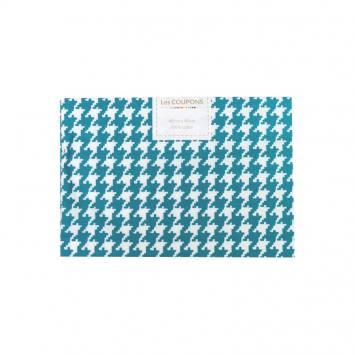 Coupon 40x60 cm coton bleu pétrole pied de poule