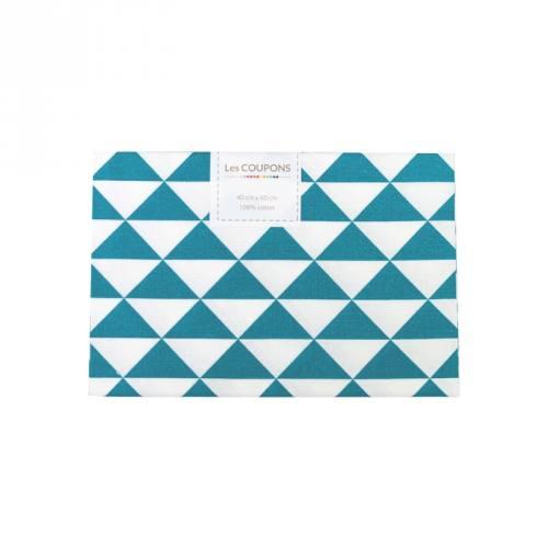 Coupon 40x60 cm coton bleu pétrole vintage