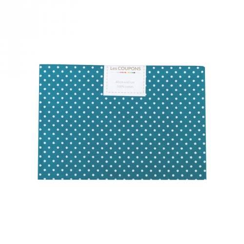 Coupon 40x60 cm coton bleu pétrole petits pois 2mm