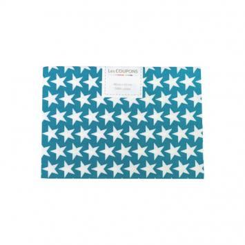Coupon 40x60 cm coton bleu pétrole étoiles monroe