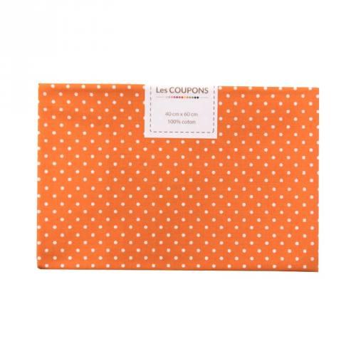 Coupon 40x60 cm coton orange petits pois 2mm