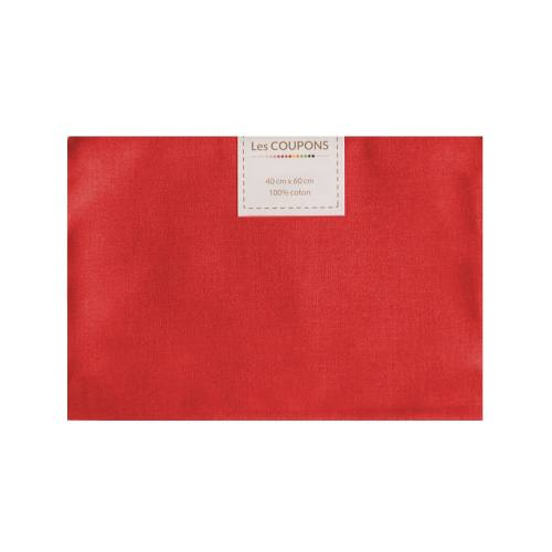 Coupon 40x60 cm coton rouge vif