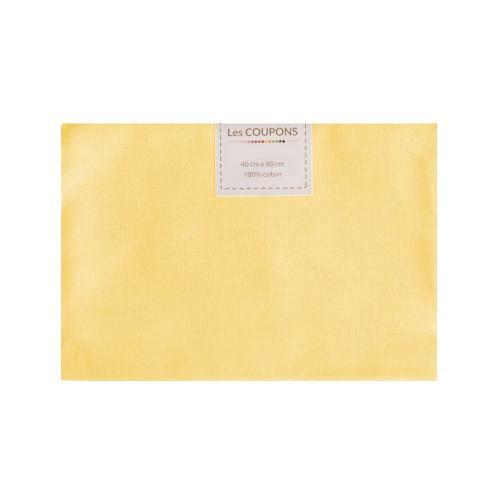 Coupon 40x60 cm coton jaune pastel