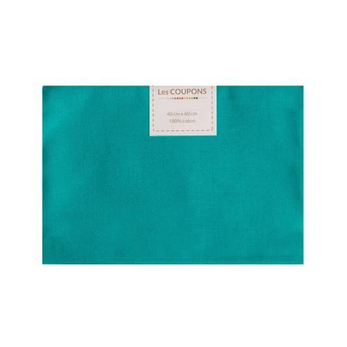 Coupon 40x60 cm coton bleu canard