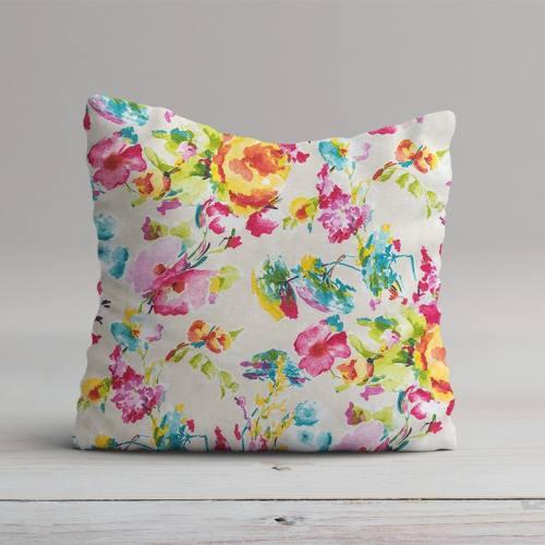 Toile polycoton imprimé aquarelle rose grande largeur