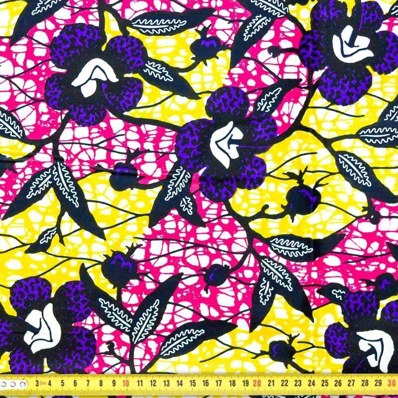 Wax , Tissu africain fleurs hibiscus violettes 25