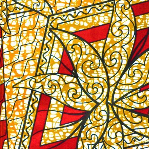 Wax - Tissu africain orange et rouge motif plante marron 34