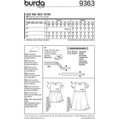 Patron Burda 9363 Robe de cérémonie Taille : 92-122 cm