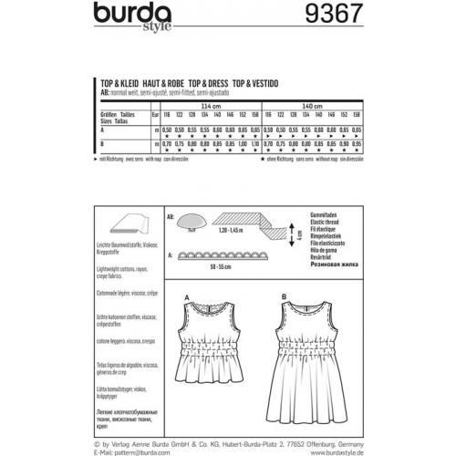 Patron Burda 9367 Haut & Robe Taille 116-158 cm