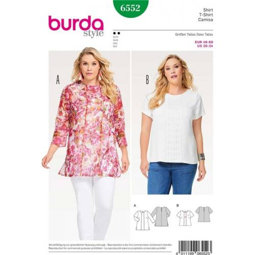 Patron Burda 6552 : T-shirt Taille : 46-60