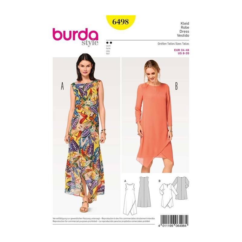 patron burda 6498 robe taille 34 46 pas cher tissus price. Black Bedroom Furniture Sets. Home Design Ideas