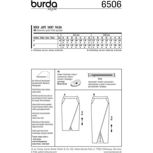 Patron Burda 6506 Jupe Taille 34-46