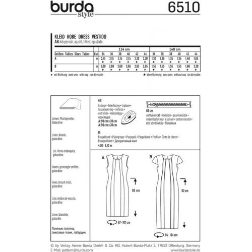 Patron Burda 6510 Robe Taille 34-44