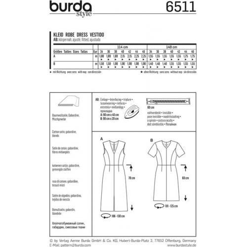 Patron Burda 6511 Robe Taille 34-46