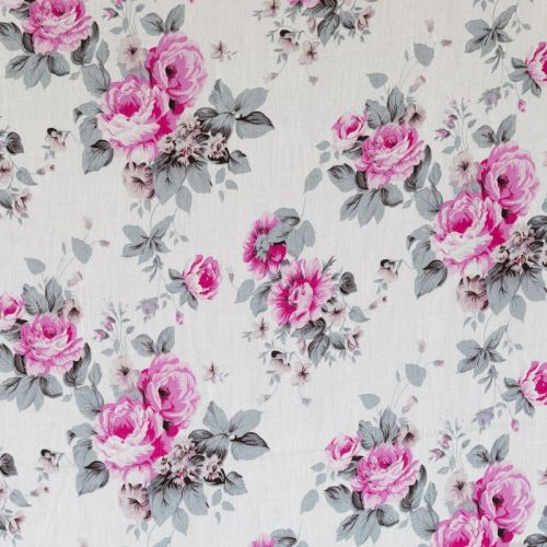 Viscose blanche imprimée fleurs fuchsia