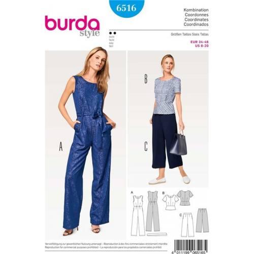 Patron Burda 6516 : Combinaison Taille 34-46