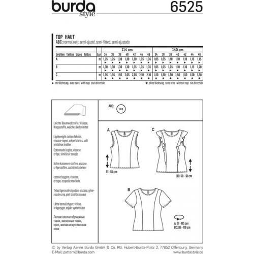 Patron Burda 6525 Haut Taille 34-46