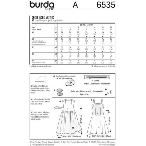 Patron Burda 6535 Robe Taille 32-44