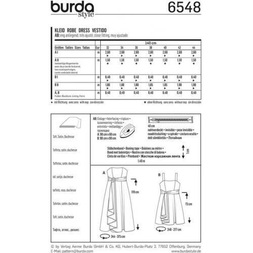 Patron Burda 6548 Robe de cérémonie Taille 46-56