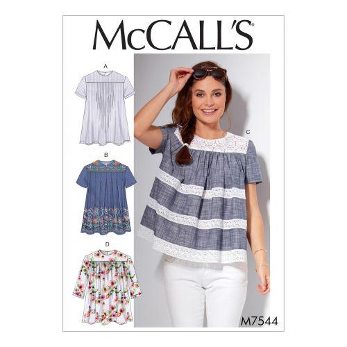 Patron Mc Call's M7544 : Hauts pour jeune femme Taille 42-50
