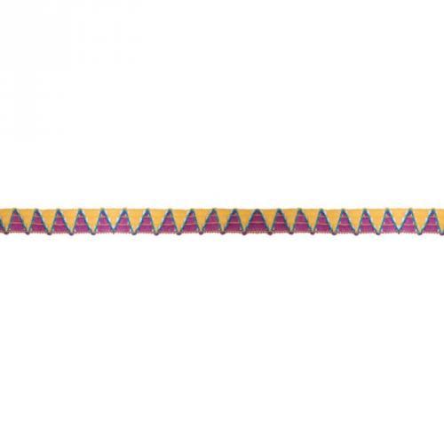 Galon 12 mm fantaisie triangles ors, violets et bleus