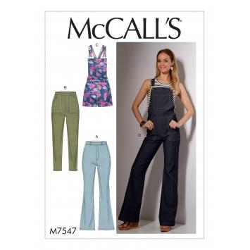 Patron Mc Call's M7547 Jeans et salopettes pour jeune femme Taille 34-42
