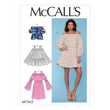 Patron Mc Call's M7563 Haut, tunique et robes pour jeune femme 44-52