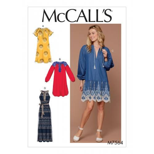 Patron Mc Call's M7564 : Robes et ceinture pour jeune femme 44-52