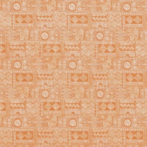 Popeline orange à motifs ethniques