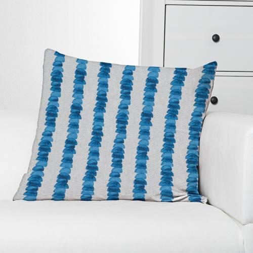 Toile polycoton aspect lin imprimé galet bleu