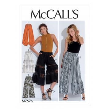 Patron Mc Call's M7576 Pantalons pour jeune femme 32-42