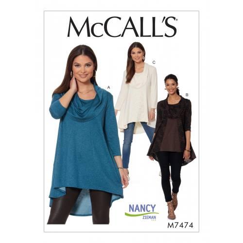 Patron Mc Call's M7474 : Tuniques pour jeune femme 44-52
