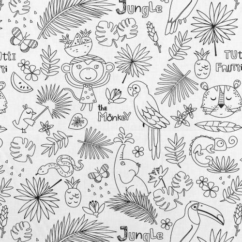 Tissu coton à colorier motif Jungle