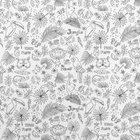 Tissu coton à colorier motif Jungle