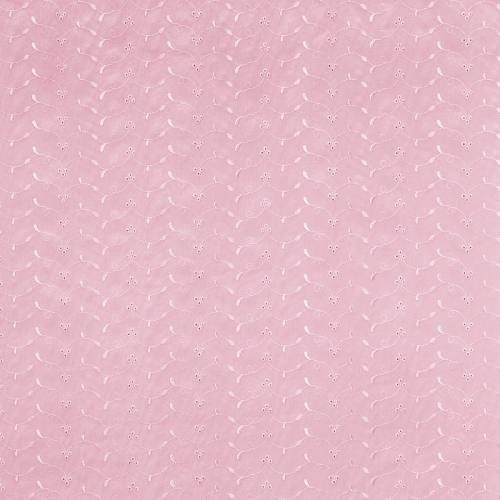 Broderie anglaise rose motif floral scintillant