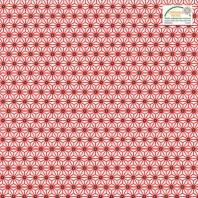 Coton blanc petit motif asanoha rouge
