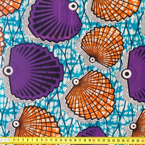 Wax - Tissu africain motif coquillage violet et orange 49