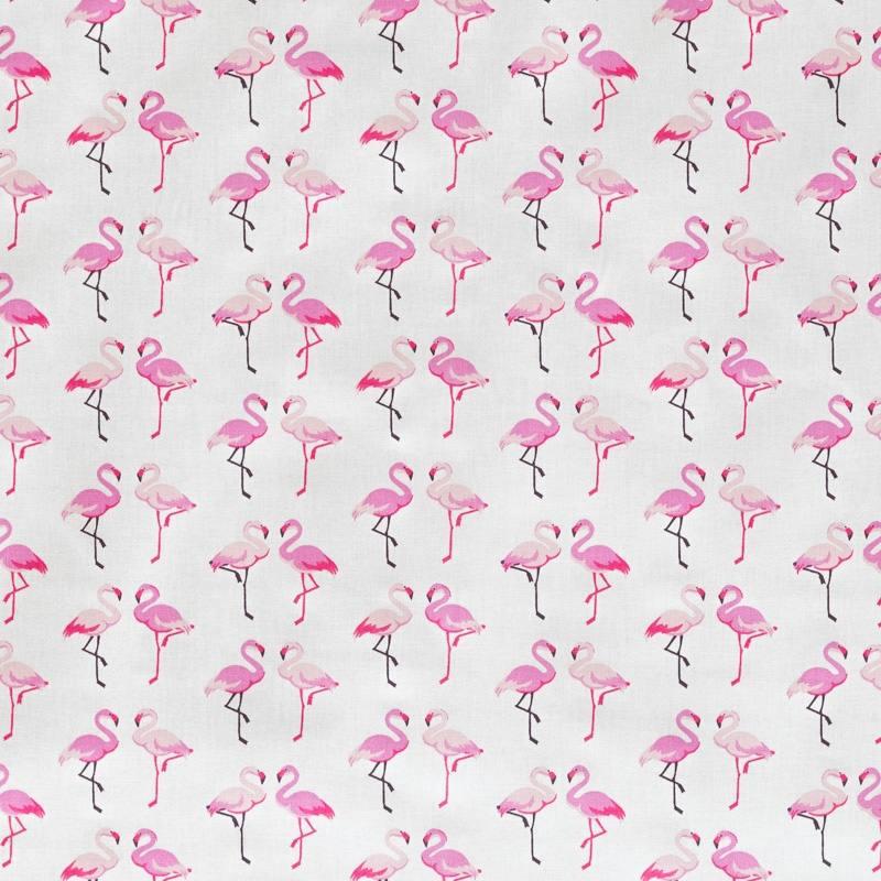 Coton blanc imprimé couple de flamant rose