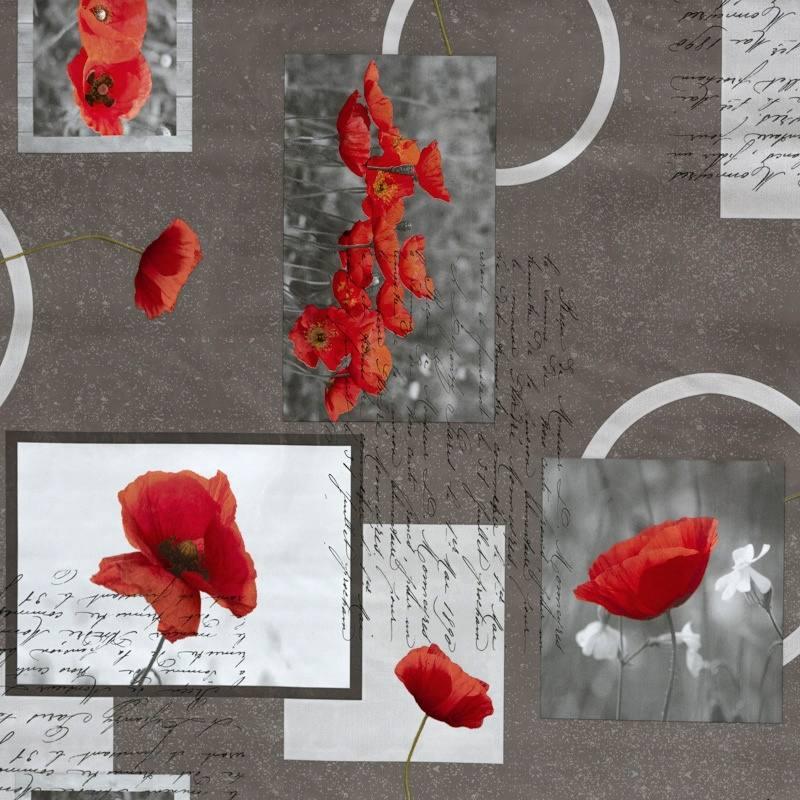toile cir e laqu e grise motif coquelicot pas cher tissus price. Black Bedroom Furniture Sets. Home Design Ideas