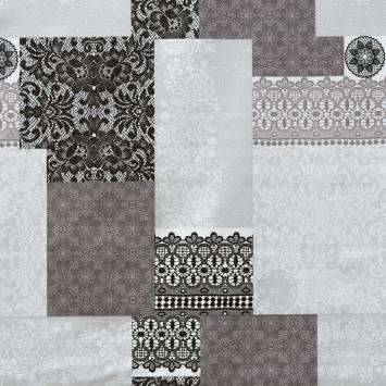 Toile cirée grise motif dentelle