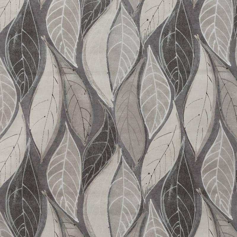 Toile cirée grise et argentée motif feuillage