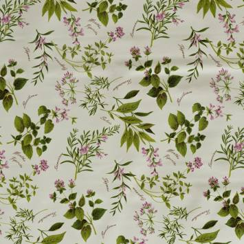 Toile cirée motif plantes aromatiques
