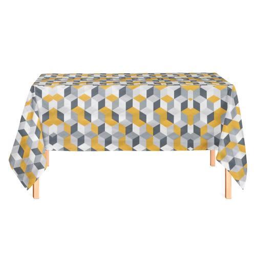 Toile cirée blanche et grise motif géométrique moutarde