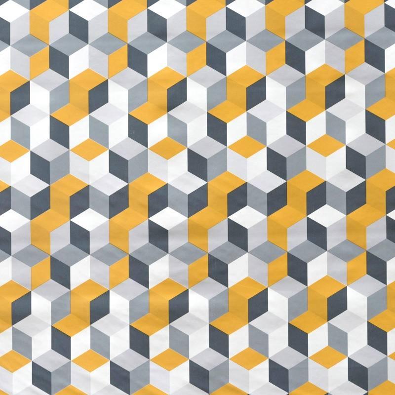 toile cir e blanche motif g om trique moutarde pas cher tissus price. Black Bedroom Furniture Sets. Home Design Ideas