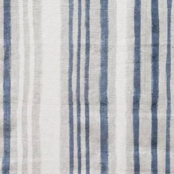 Toile lourde rayée bleu marine et grise