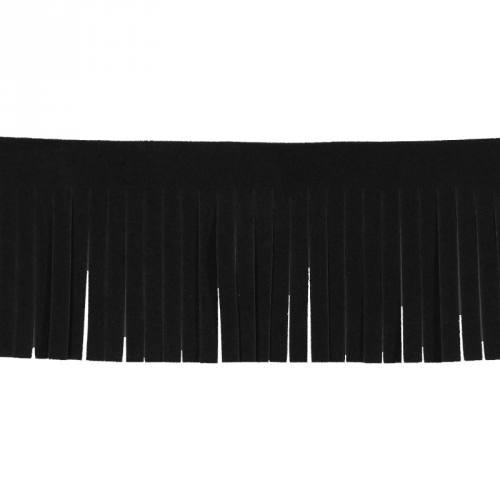 Frange imitation daim noire 50mm