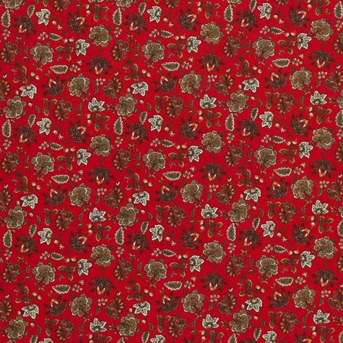 Percale de coton rouge imprimé fleuri
